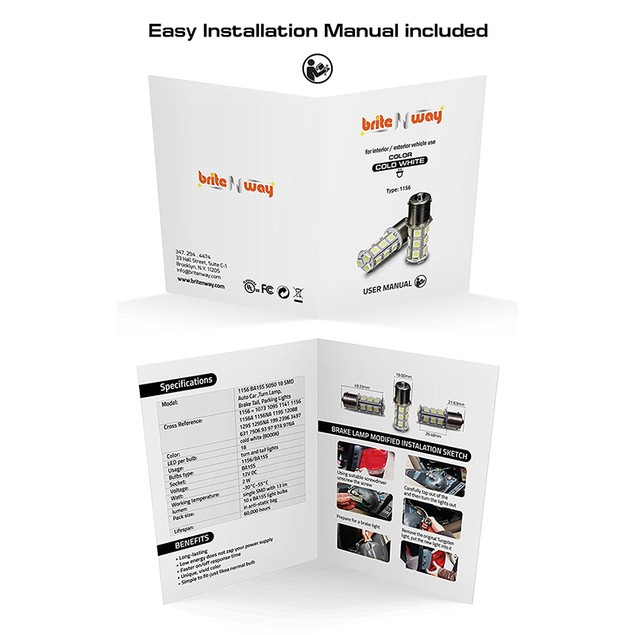 Cool Cold White 12V LED Car Light Bulbs - 10 pack