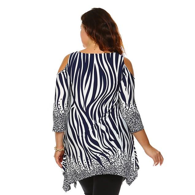 Plus Size Cut-Out Shoulder Tunic - 6 Prints