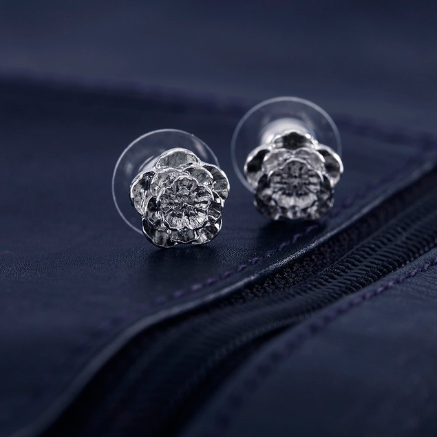 Silver Plated Flower Stud Earrings