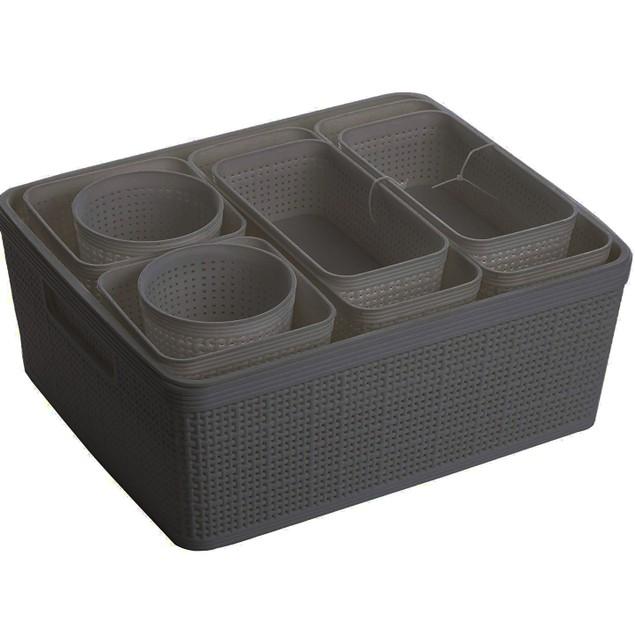 Nested Plastic Woven Storage Set