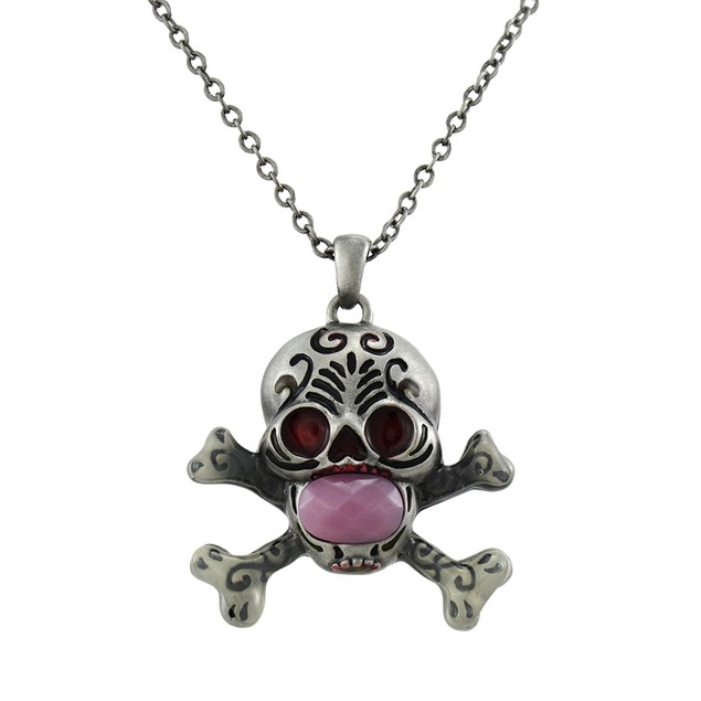 Solid Pewter Day Of The Dead Skull Pendant W/ Womens Pendant Necklaces