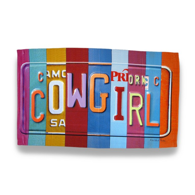 License Plate Cowgirl Throw Rug By Kate Ward Accent Rugs