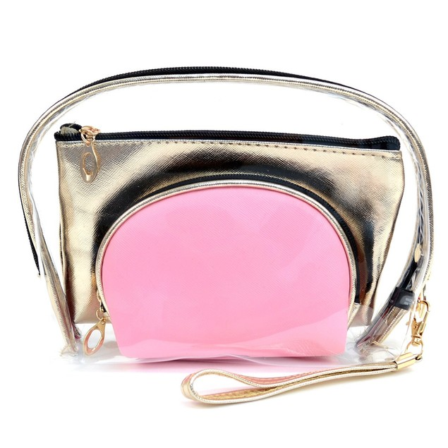 Ladies Clear & Gold Color Make Up Pouch 3pc Set Cosmetic & Toiletry Bags