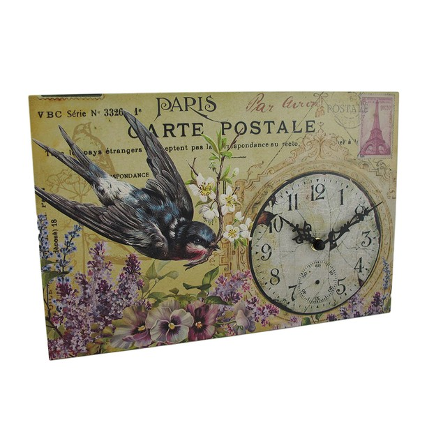 Distressed Finish Floral Bluebird Paris Postcard Wall Clocks