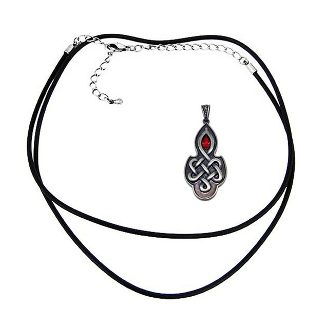 Pewter Celtic Knotwork Pendant W/ Ruby Red Mens Pendant Necklaces