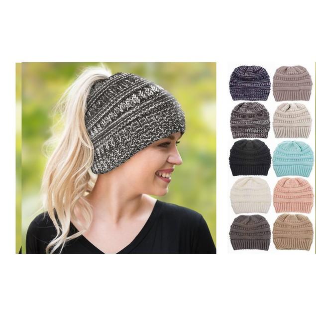 Women's Soft-Knit Ponytail Hat (Multiple Colors)