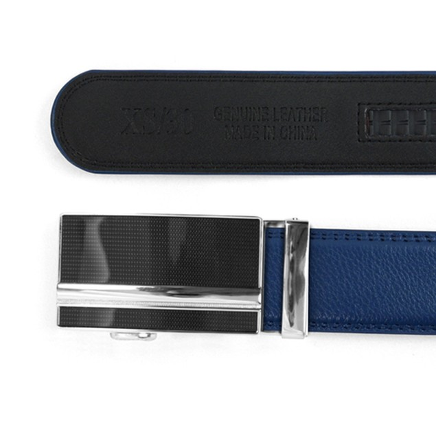 Men's Genuine Leather Sliding Buckle Ratchet Belt