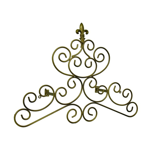 Bronze Finish Fleur De Lis Scroll Drapery Window Treatment Swag Holders
