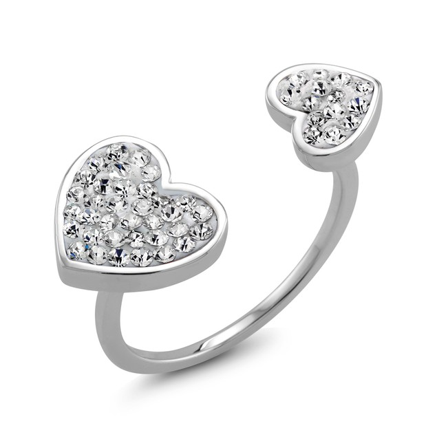 White Gold Plated Crystal Double Heart Ring