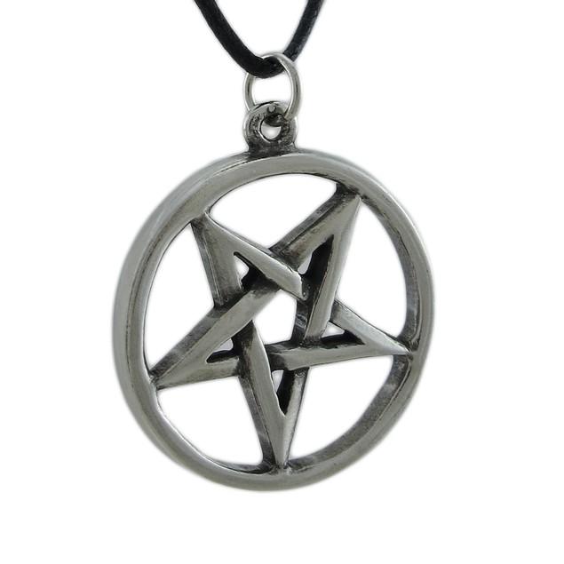 Silver Finished Inverted Pentagram Pendant W/ Cord Mens Pendant Necklaces