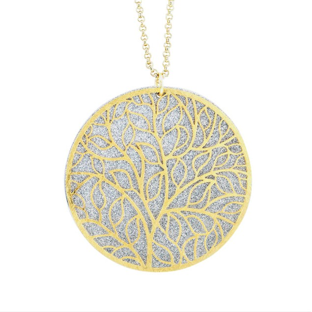 Gold Plated Circle Branches Glitter Necklace