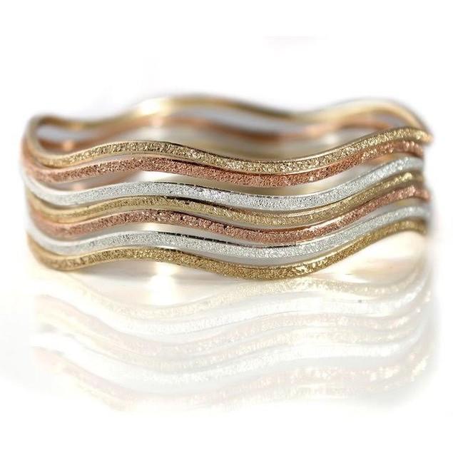 7-Piece Stackable Glitter Finish Wave Bangle Bracelets