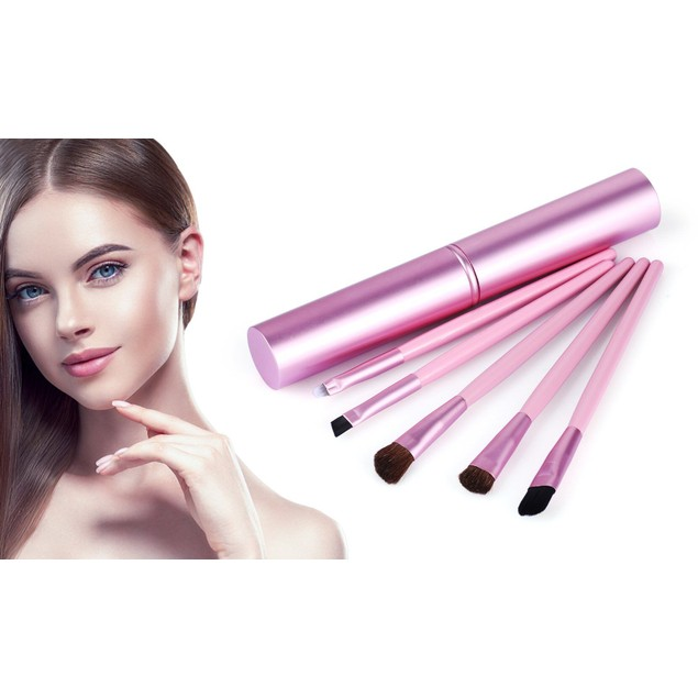 Tubular Makeup Brushes with Standing Travel Case (5-Piece)