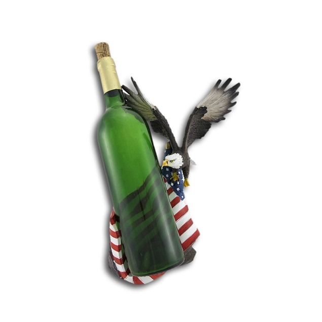 American Flag And Bald Eagle Single Bottle Wine Tabletop Wine Racks