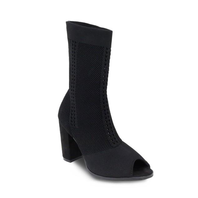 Olivia Miller 'Franklin' Perforated Chunky Heel Peep Toe Fabric Booties