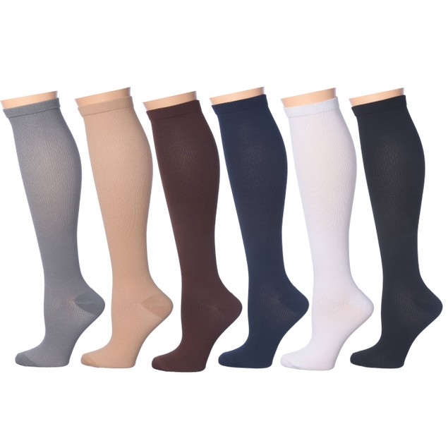 6-Pairs: Rexx Unisex Support and Recovery Knee-High Compression Socks