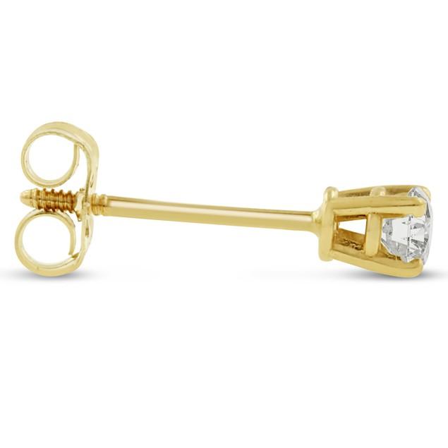 14k Yellow Gold 1/4 Carat Genuine Diamond Stud Earrings