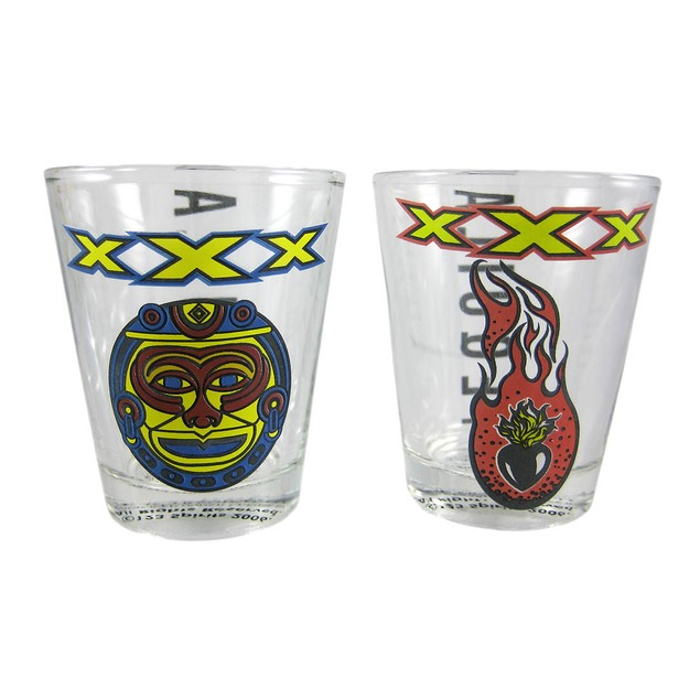 Licensed Set Of 4 Xxx Tequila Aztec Shot Glasses Shot Glasses
