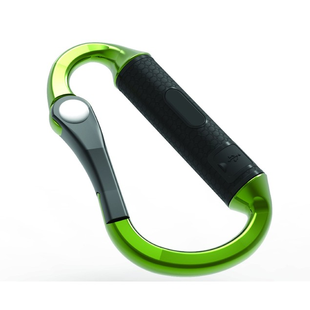 Carabiner Clip with Built-in 3,000 mAh Portable Battery Charger