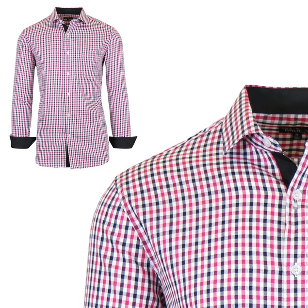 Mens Long Sleeve Slim-Fit Cotton Dress Shirts W/ Chest Pocket