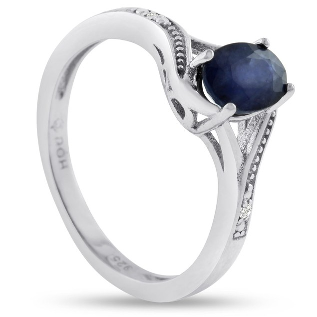 Sterling Silver 1ct Oval Sapphire and Diamond Ring