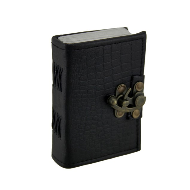 Black Python Embossed Leather Journal 3.5 X 5 In. Art Sketchbooks And