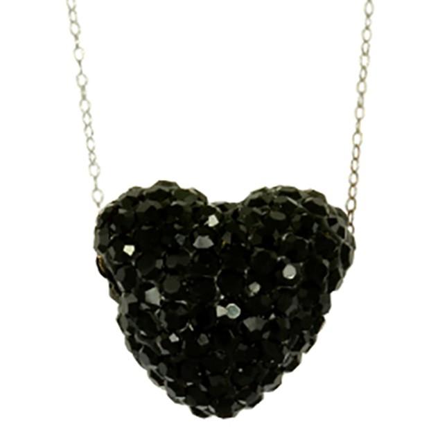 Fine Silver Plated Crystal Black Crystal Heart Pendant