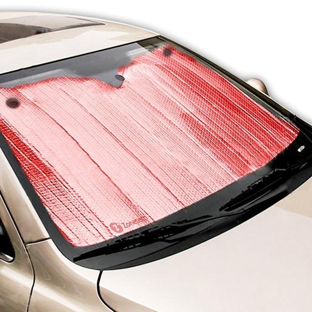 Zone Tech Red Folding Bubble Auto Sunshade Reducing Heat Car Shade