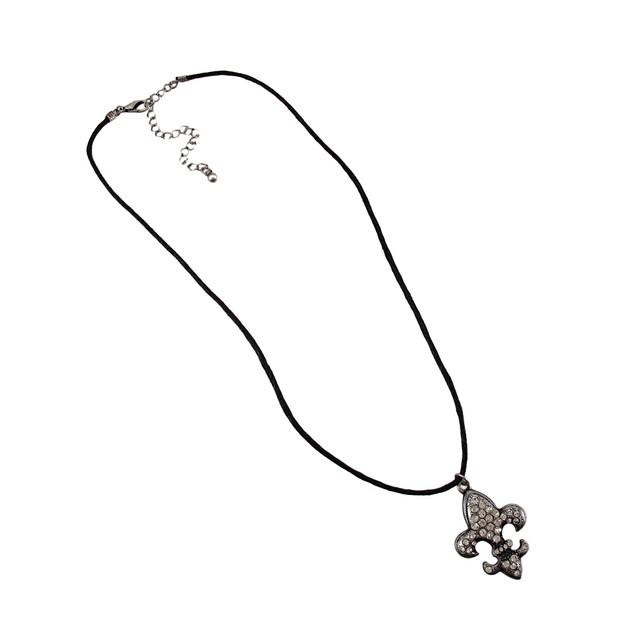 Rhinestone Fleur De Lis With Black Cord Necklace Mens Pendant Necklaces
