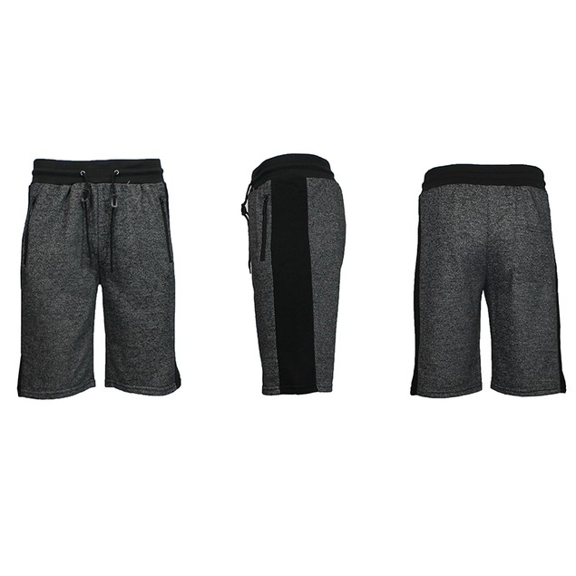 Men's French Terry Shorts With Zipper Pockets & Contrast Trim