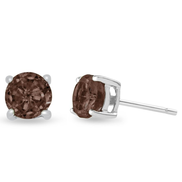Sterling Silver 2 Carat Round Smoky Quartz Earrings