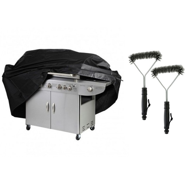 """65"""" Heavy-Duty Grill Cover w/ 2 pack Grill Cleaning Brush Set"""