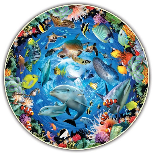 501 Piece Round Table Puzzle - Legendary Landmarks or Ocean View