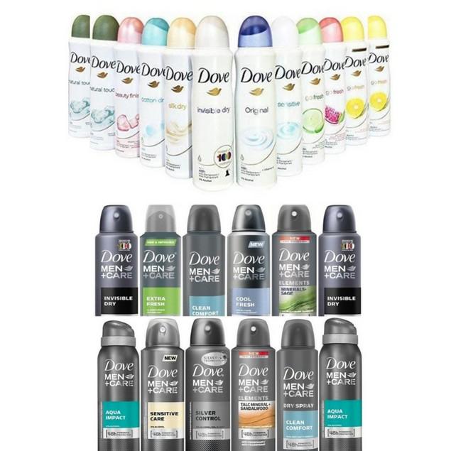 12 Pack Dove Antiperspirant Spray Deodorant For Men or Women 150 ml
