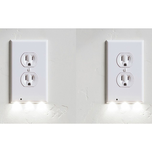 2-Pack Snap-On Outlet Cover with Built-In LED Night Lights
