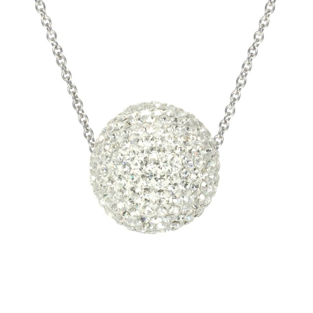 Sterling Silver Crystal Fireball Necklace