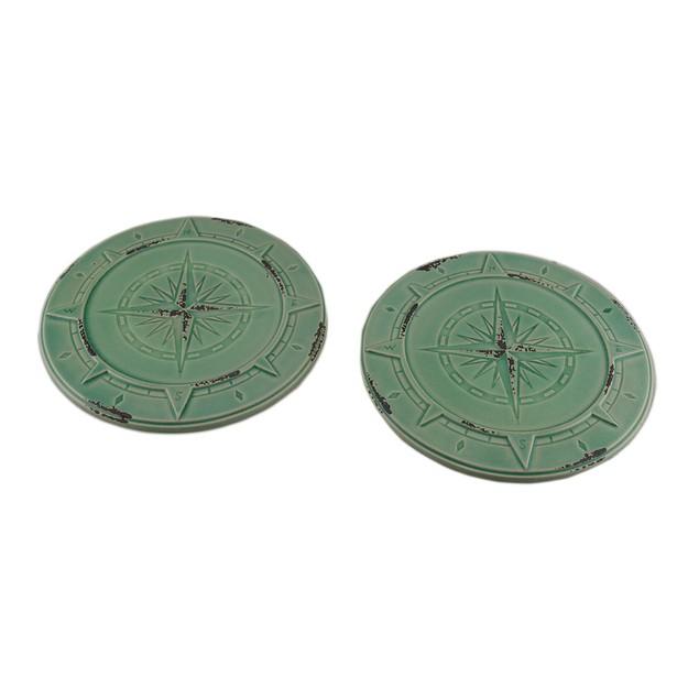 Set Of 2 Vintage Aqua Finish Compass Rose Ceramic Candleholders