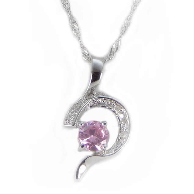 Sterling Silver Necklace Pink Half Heart Pendant