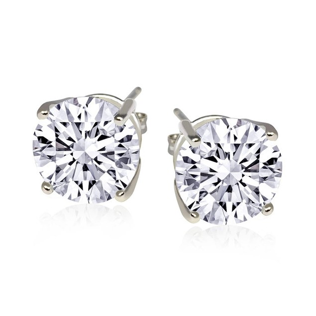 2cttw Sterling Silver Cubic Zirconia Stud Earrings - Choose Pack Size!