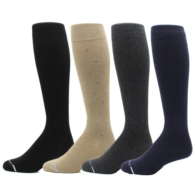 4-Pairs Men's Dr. Motion Graduated Compression Knee High Socks