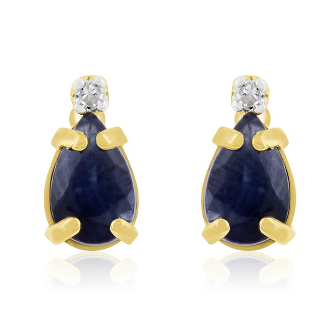 14k Yellow Gold 1.25cttw Pear Sapphire and Diamond Earrings