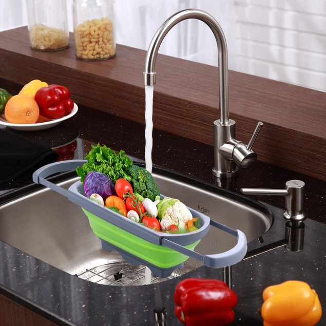 Over-the-Sink Collapsible Colander with Extendable Handles