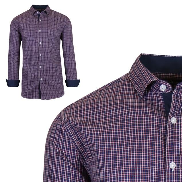 Mens Long Sleeve Slim-Fit Cotton Dress Shirts W/ Chest Pocket