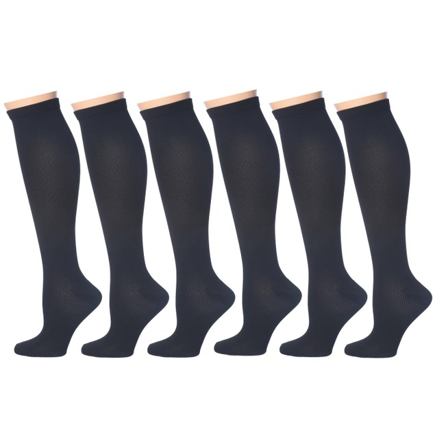 6-Pairs Rexx Women's Patterned Knee-High Compression Socks