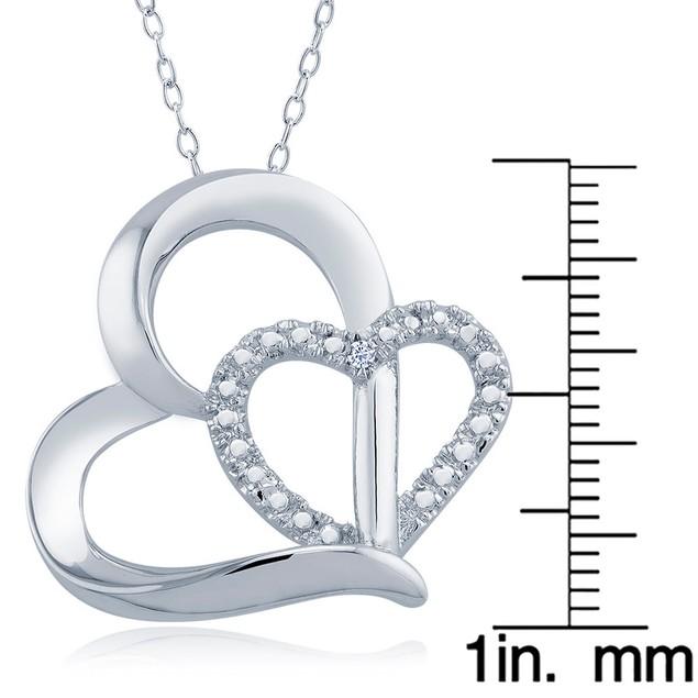 1/10cttw Diamond Accent Dounle Heart Necklace