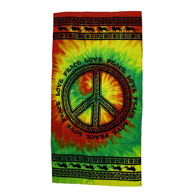 Tribal Peace Sign Cotton Tie-Dye Beach Towel 30 X Beach Towels