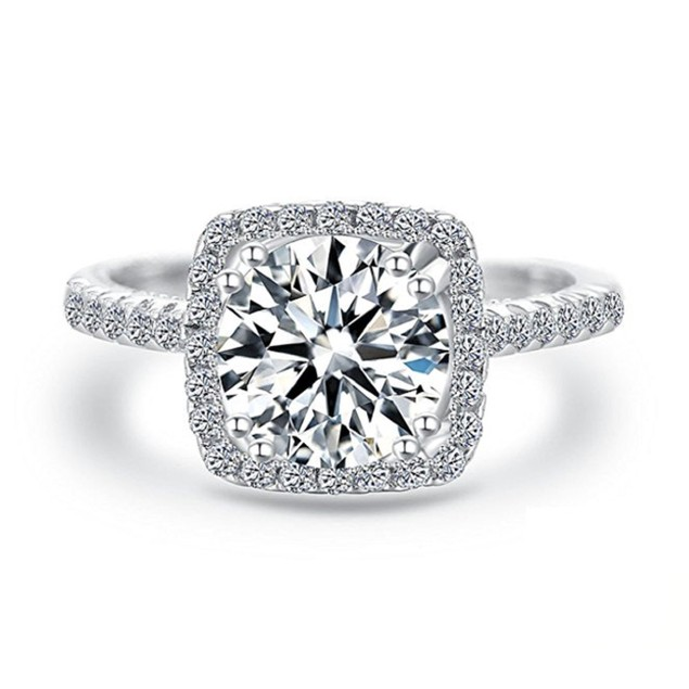 18kt White Gold Plated Engagement Ring