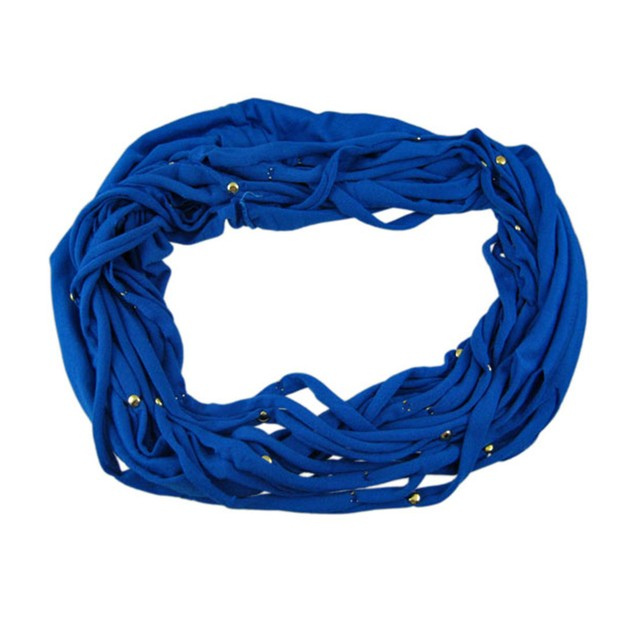 Blue Multi Strip Golden Studded Ring Scarf Womens Fashion Scarves
