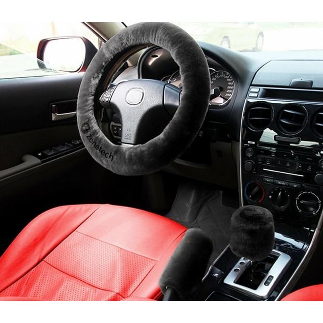 Zone Tech Car Steering Wheel Emergency Brake Gear Shift Plush Cover