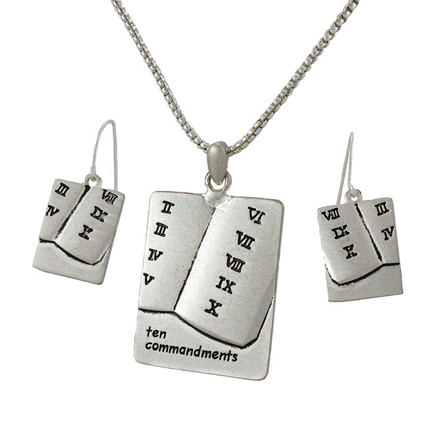 Ten Commandments Necklace And Dangle Earrings Set Womens Earring And